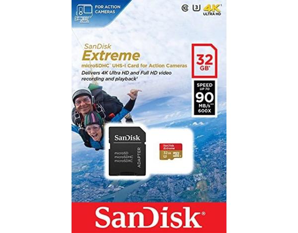 Karta pamięci microSDHC Extreme  Sandisk 32GB c10 +adapter